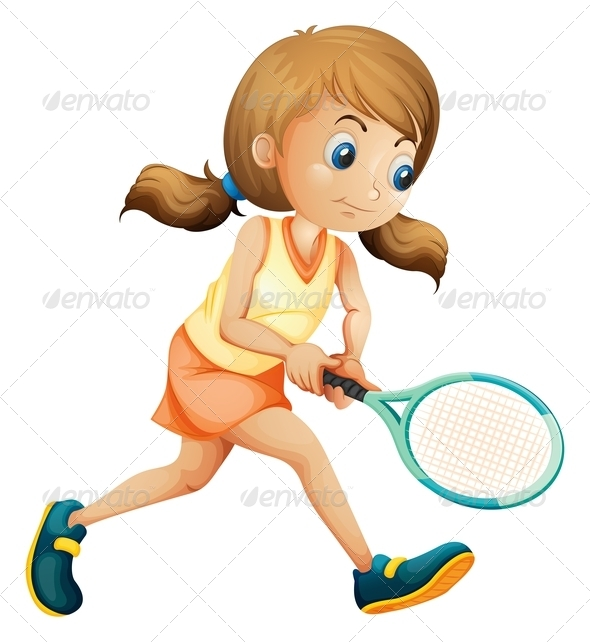 GraphicRiver Girl playing tennis 7851363