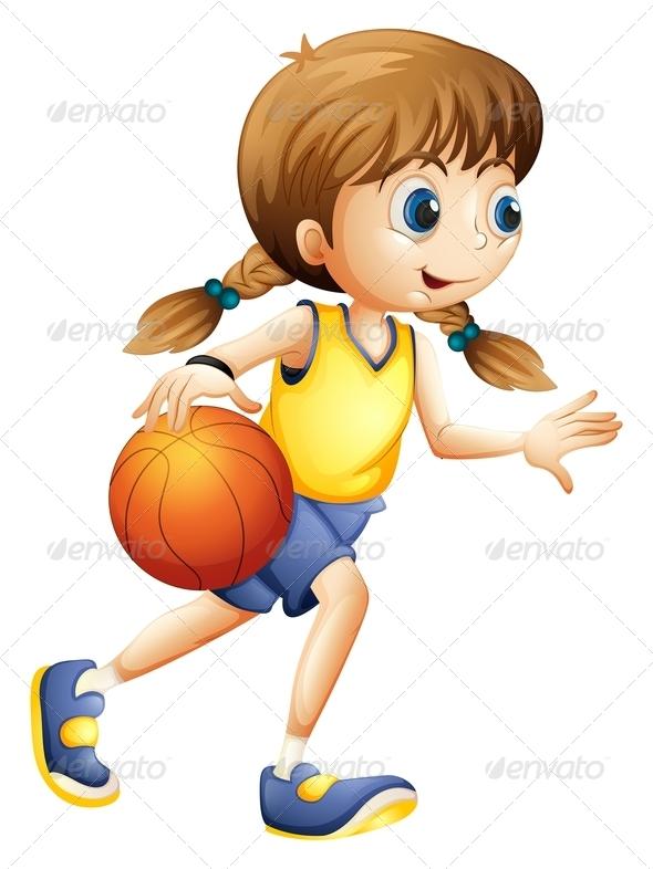 GraphicRiver Girl playing basketball 7851438