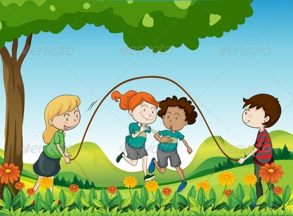 GraphicRiver Kids playing under tree 7851457