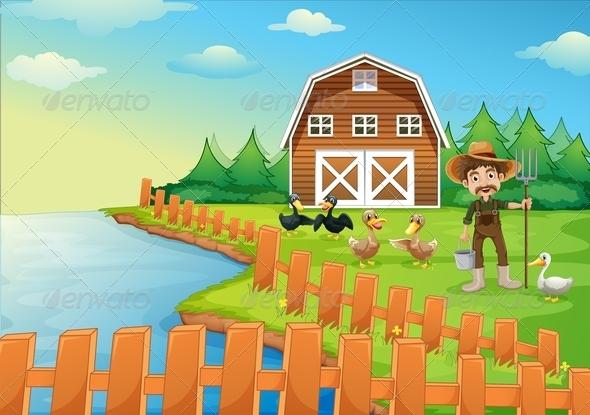 GraphicRiver Farmer feeding his ducks 7851462