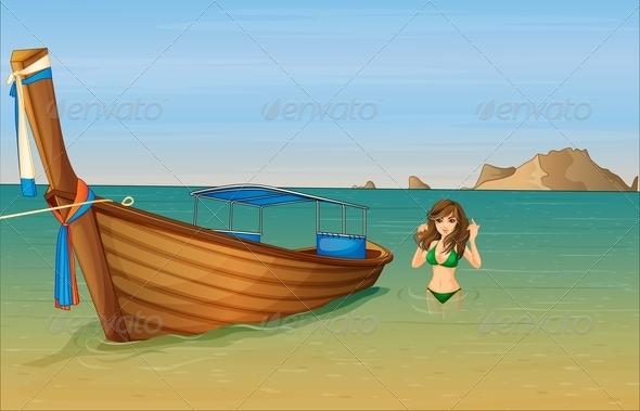 GraphicRiver Girl near wooden boat 7851466