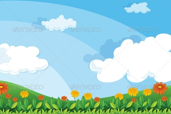 GraphicRiver Flowers on hillside 7851472