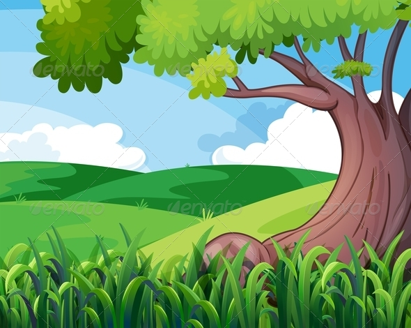 GraphicRiver Tree and Hills 7851496