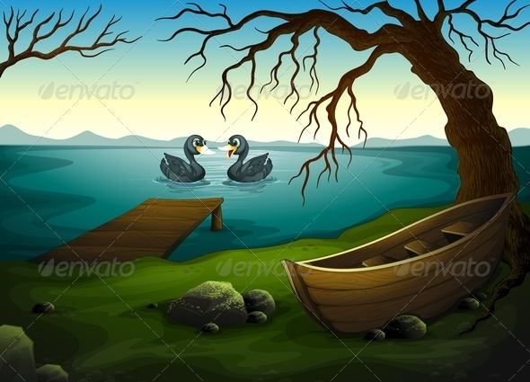 GraphicRiver Landsacpe with two ducks 7851515