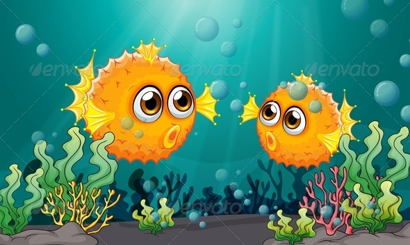 GraphicRiver Two puffer fish under the sea 7851519