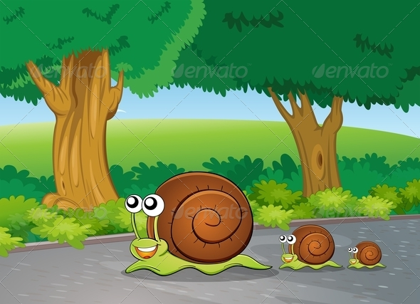 GraphicRiver Snails on the Path 7851526