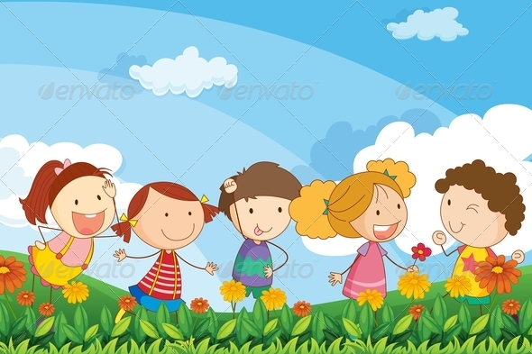 GraphicRiver Adorable kids playing in the garden 7851555