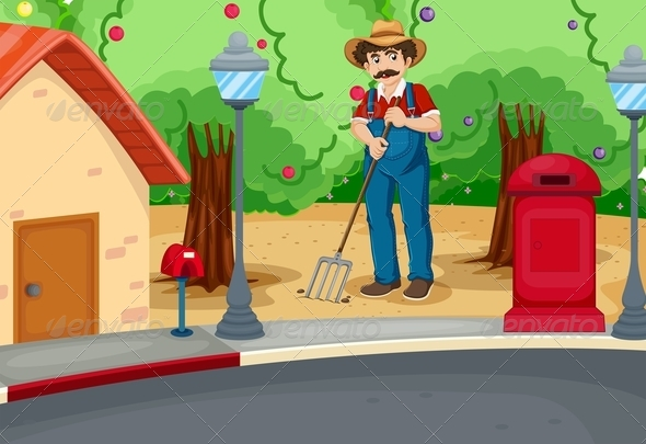 GraphicRiver A man raking the soil near the road 7851560