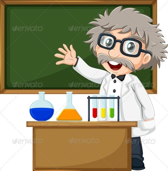 Scientist in front of empty blackboard