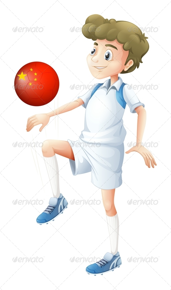 Boy Playing With Chinese Soccer Ball