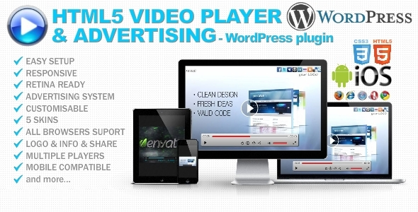 CodeCanyon HTML5 Video Player & Advertising for WordPress 7851635