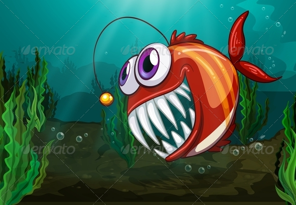Angler fish under the sea