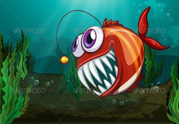 GraphicRiver Angler fish under the sea 7851639