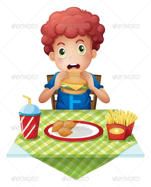 GraphicRiver Boy eating at a fast food restaurant 7851740