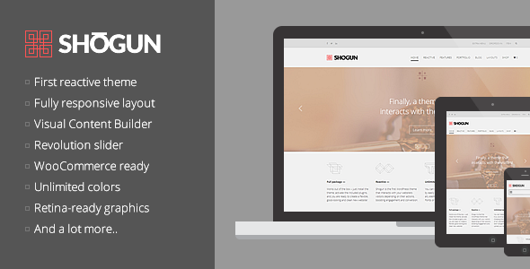 ThemeForest Shogun the First Reactive WordPress Theme 7771937