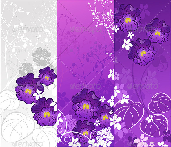 GraphicRiver Banner with Violets 7851760