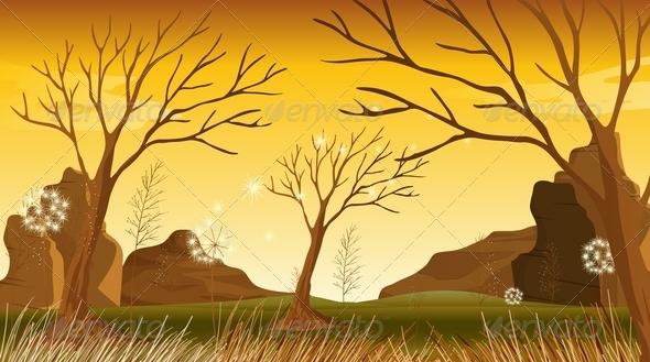GraphicRiver Bare Trees in Landscape 7851815