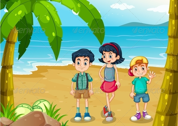 GraphicRiver Children strolling at the beach 7851819