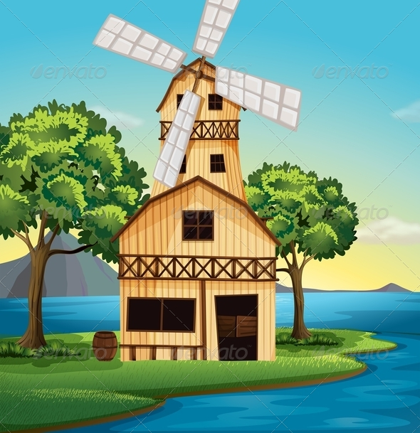 GraphicRiver Farmhouse with windmill 7851841