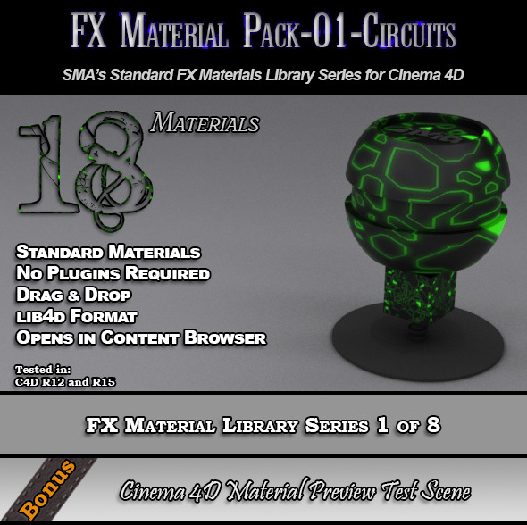 Standard FX Material Pack-01-Circuits for C4D - 3DOcean Item for Sale