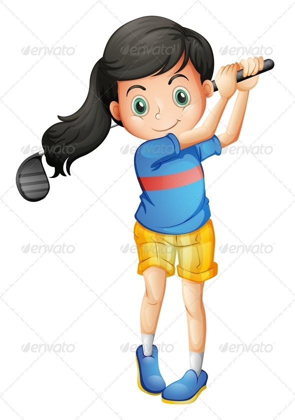 GraphicRiver Girl playing golf 7851859