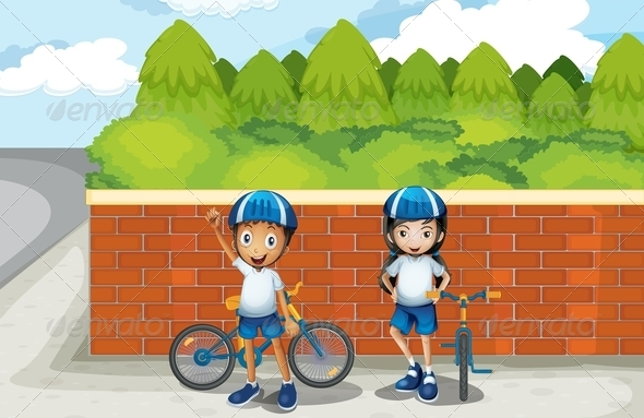 GraphicRiver Two young bikers on the street 7851868