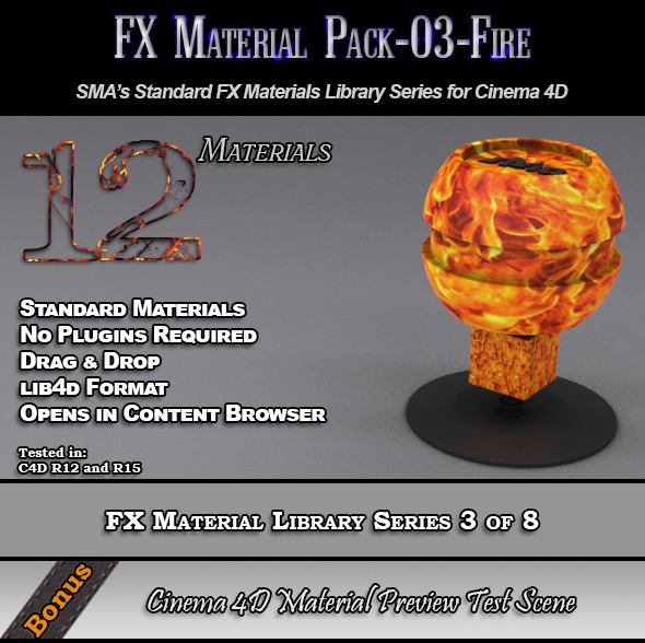 3DOcean Standard FX Material Pack-03-Fire for Cinema 4D 7851869