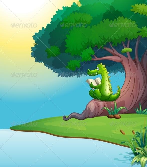 GraphicRiver Crocodile reading under a tree 7851871