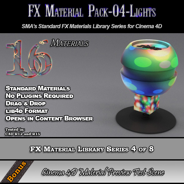 3DOcean Standard FX Material Pack-04-Lights for Cinema 4D 7851874