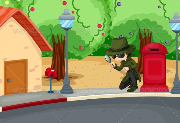 GraphicRiver Detective at the road with magnifying glass 7851877