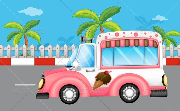 GraphicRiver Pink ice cream van 7851921