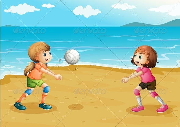 GraphicRiver Girls playing volleyball at the beach 7851925