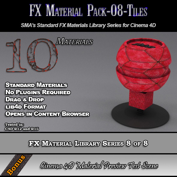 3DOcean Standard FX Material Pack-08-Tiles for Cinema 4D 7851927