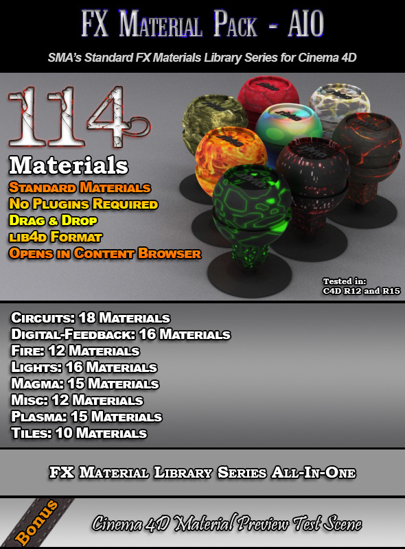 3DOcean 114 Standard FX Materials Pack AIO for Cinema 4D 7851933