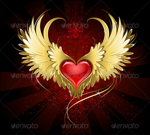 Red Heart with Golden Wings
