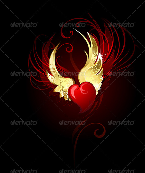 GraphicRiver Heart with Wings Foil 7852018