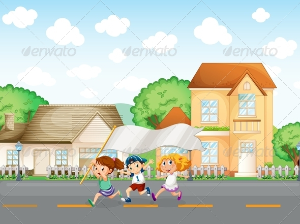 GraphicRiver Kids running in the street with banner 7852215