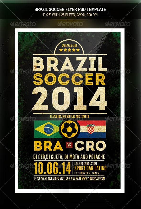 GraphicRiver Brazil Soccer 2014 Match Flyer 7852235