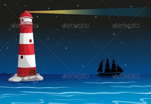 GraphicRiver Lighthouse in the middle of the ocean 7852274