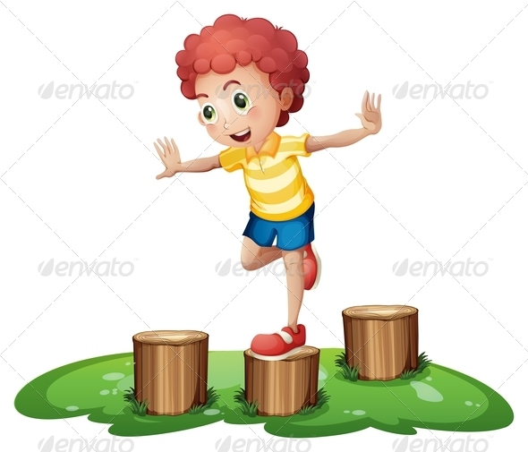 GraphicRiver Boy playing on stumps 7852282
