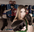 Boxing aerobox woman portrait in fitness gym - PhotoDune Item for Sale