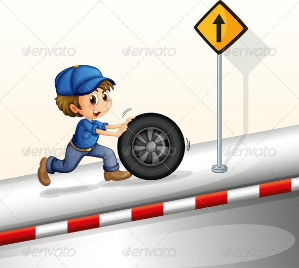 GraphicRiver Smiling mechanic pushing a tire 7852287