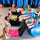 Fitball crunch training group core fitness at gym - PhotoDune Item for Sale