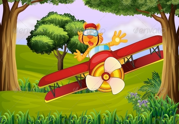GraphicRiver Tiger Flying a Plane in the Forest 7852309