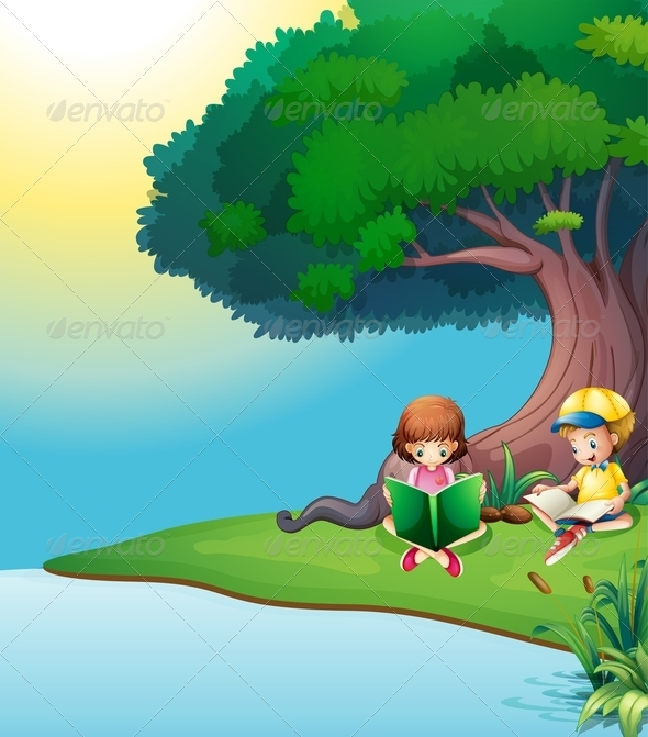 Boy and a girl reading under a tree