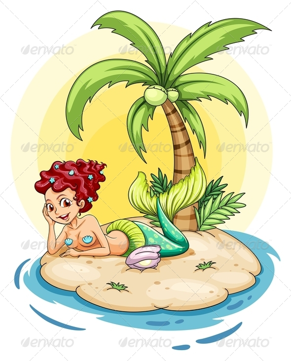 GraphicRiver Smiling mermaid on an island 7852525