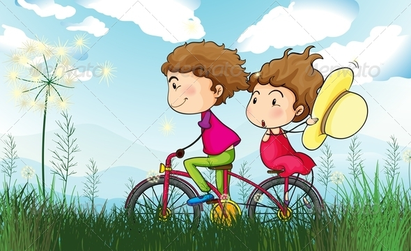 GraphicRiver Kids biking 7852528