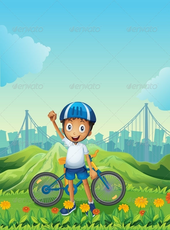 GraphicRiver Boy and his bike in front of the hills 7852536