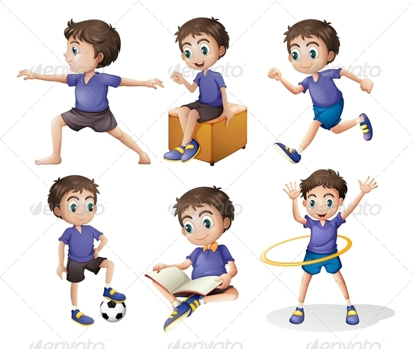 GraphicRiver Different activities of a young boy 7852578