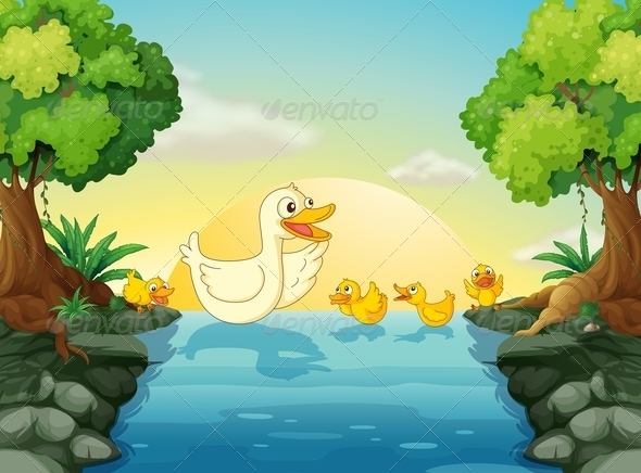 GraphicRiver Ducks at the river 7852582